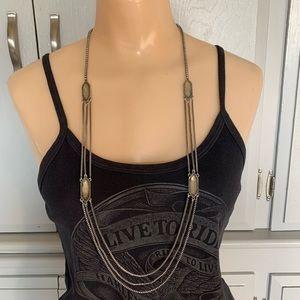 Lucky Brand Silver W/Stones Long Layered Necklace